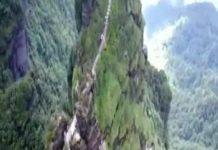 Un site fabuleux en Asie en haut d'une montagne