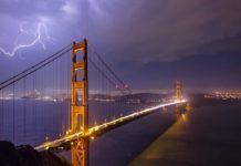 Eclairs sur le pont du Golden Gate