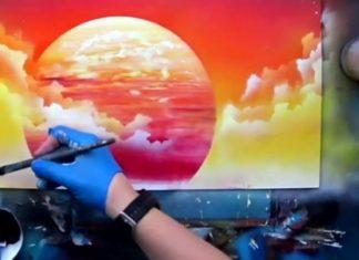 Paysage africain à la bombe de peinture