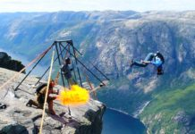 Sauts spectaculaires du Kjerag en Norvège