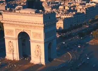 Images de Paris vue d'un drone