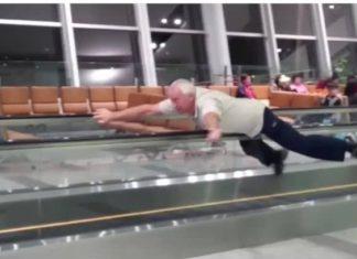 Scène de spectacle insolite dans un aéroport