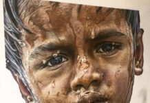 Portrait d'un enfant dessiné dans un style hyper réaliste