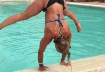 Sortir de la piscine sans les pieds