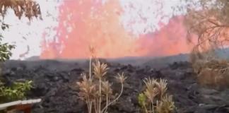 Volcan Hawaii Lave qui s'écoule à Hawaii