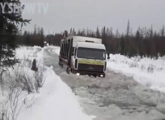 Routier russe sur route complétement gelée