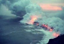 Grosse couléee de lave s'écoule dans l'Océan